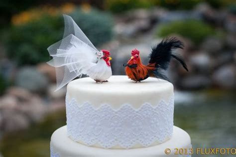 Barnyard Chickens Love Bird Cake Topper: Farm Wedding