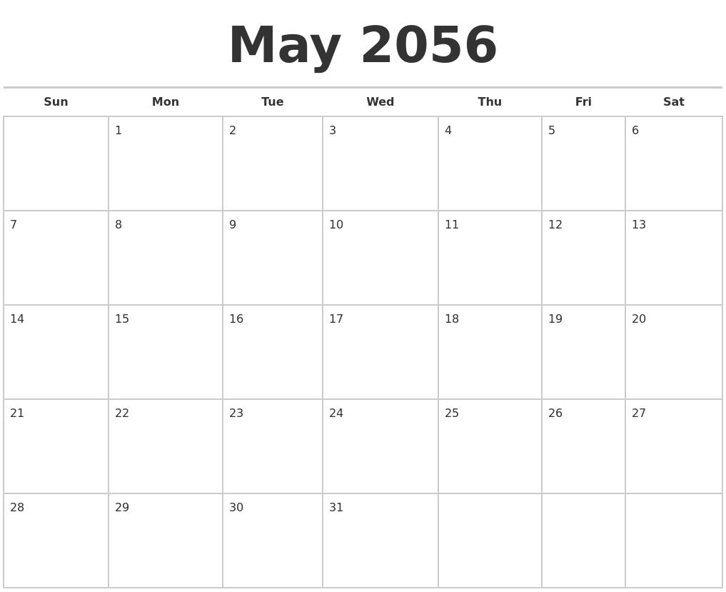 may 2056 calendars free