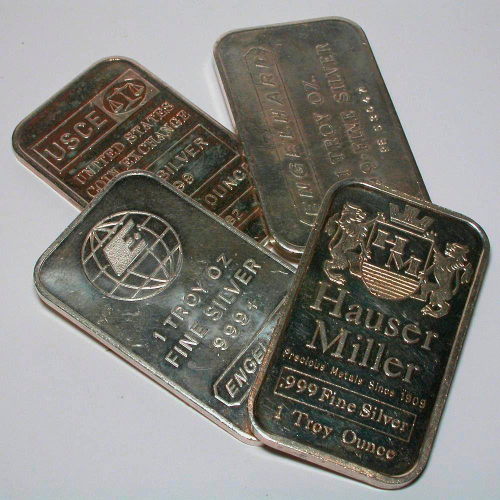 Bullion bars, a sample of the element Silver in the ...