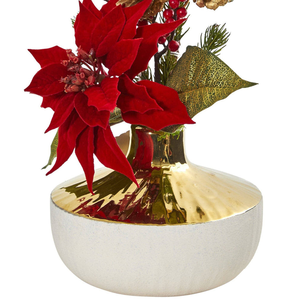 Poinsettia Artificial Arrangement In Decorative Vase Nearly Natural