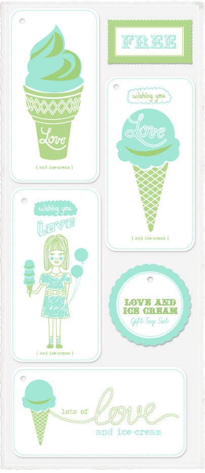 Free Love and Ice-cream Gift Tag Set