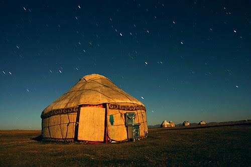 Yurt in Moonlight, Kyrgyzstan