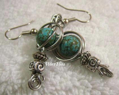 Wire wrapped twice around the world (TAW) Earrings