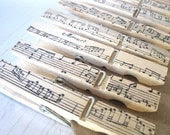 Sweet Melodies CLOTHESPINS - party or wedding favor, gift clip, snack clip, banner clip - Rustic Elegance