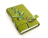 Green Journal - Leather Cover Notebook - Handpainted Diary - Seedlings - Europeanstreetteam - Baghy