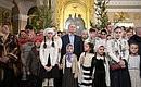 НаРождественском богослужении вСпасо-Преображенском соборе.
