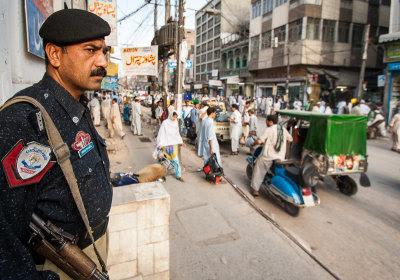 Policeman by Qissa Khawani Bazaar, Peshawar