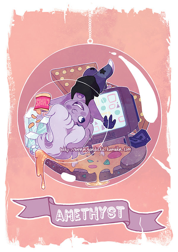 another in the steven universe terrariums set that I'm collabing on with @the-picayune! this time it's Amethyst; I had a lot of fun with that cheesy pizza floor, haha! this piece is available as...