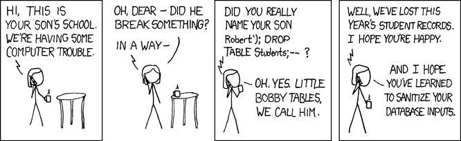 Little Bobby Tables comic used with permission from xkcd.com