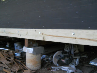 Porch Ledger Board Bolted to Joists