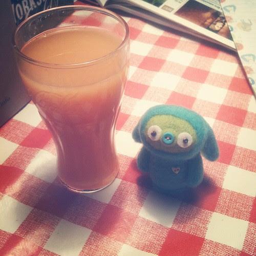 surprise visitor got grapefruit juice - hallo veet