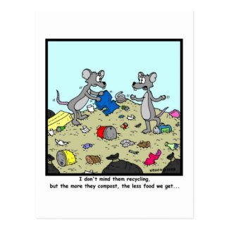 Recycling and Composting: Rat Cartoon Postcard