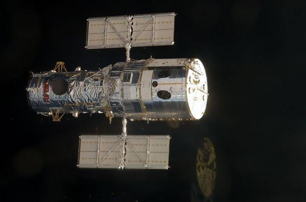 The HUBBLE SPACE TELESCOPE before it is docked with space shuttle ATLANTIS on May 13, 2009.
