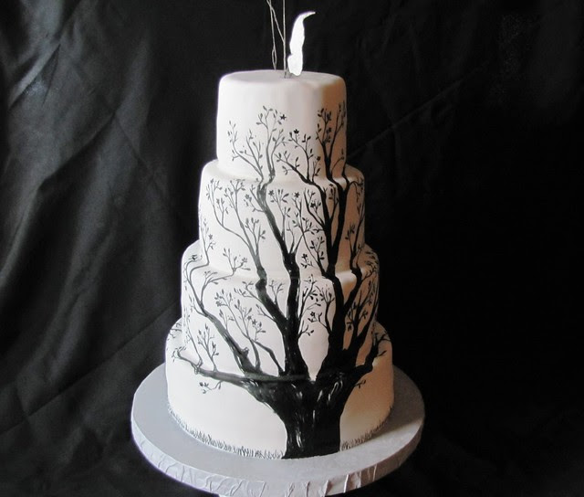 Side of Tree Wedding Cake Each side had a black painted tree took forever