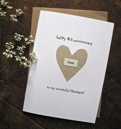 4th Wedding Anniversary Keepsake Card LINEN Traditional