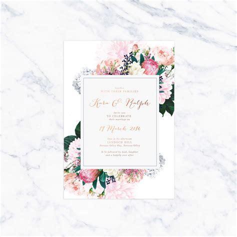 Native Floral Pretty Protea Foil Wedding Invitations
