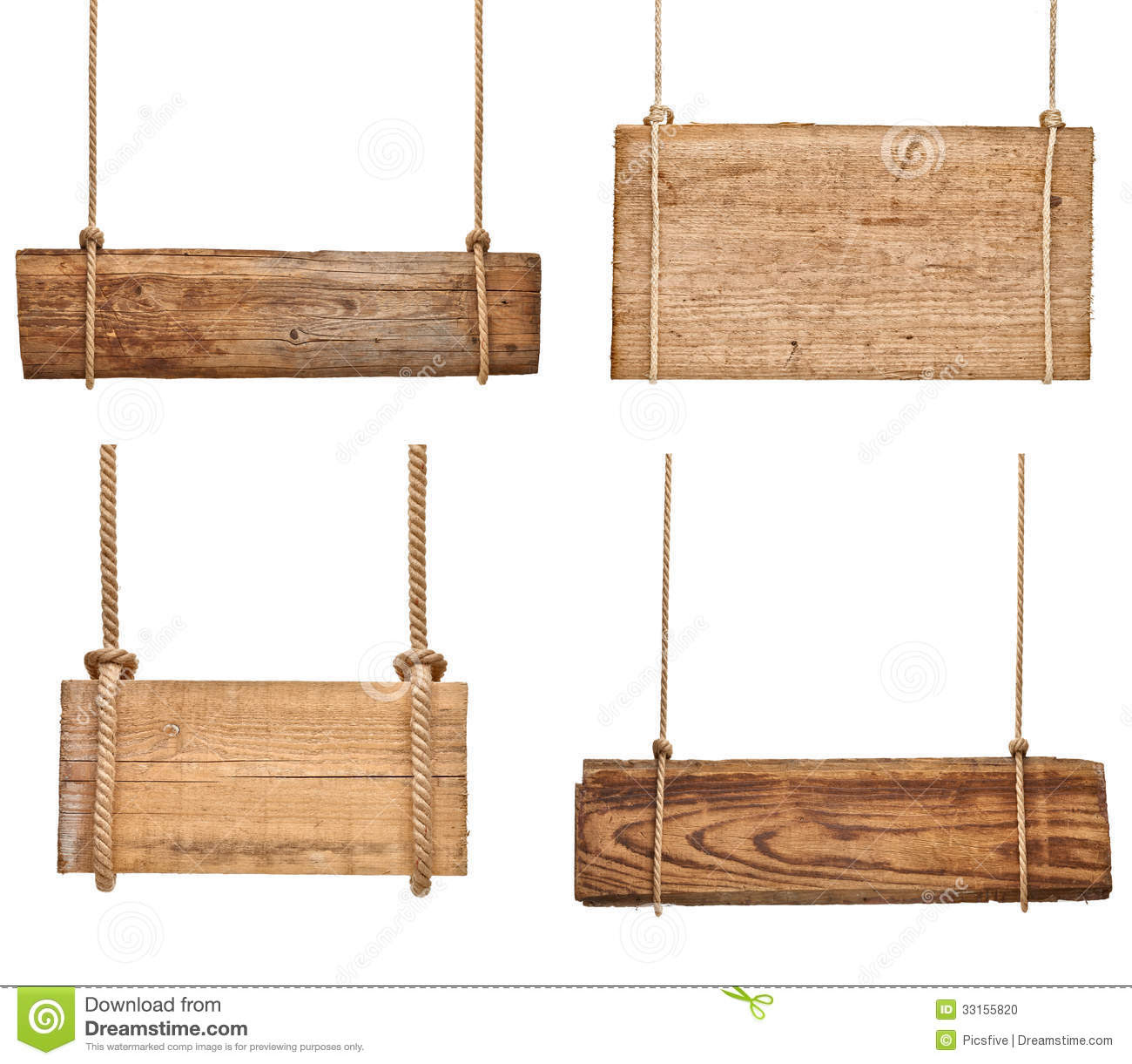 hanging  empty  on Collection  signs on rope vector sign a various rustic white wooden of