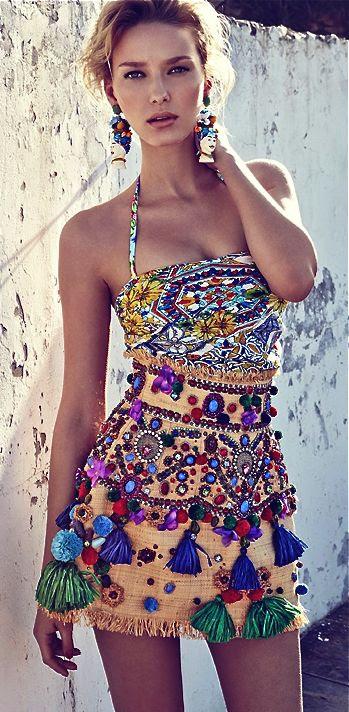 Dolce & Gabbana | Embellished Tassel Skirt #bohemian ☮k☮ #boho
