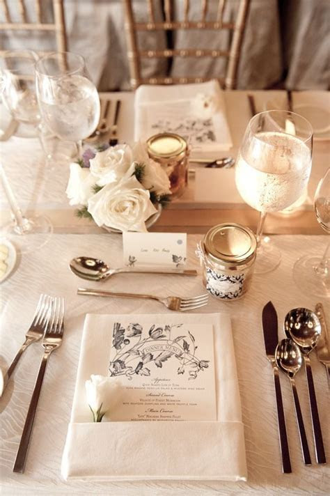 Gorgeous Wedding Table place settings include dinner menus
