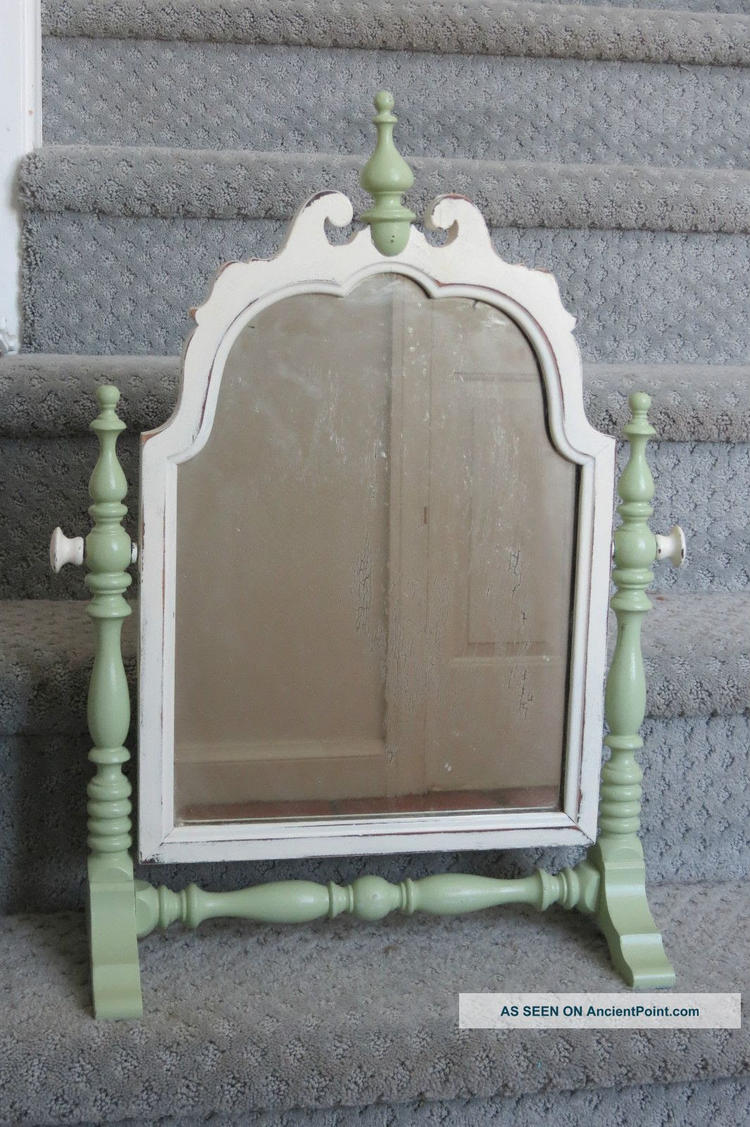 Vintage Chic Wood Distressed Painted Shabby Vanity Mirror Celery