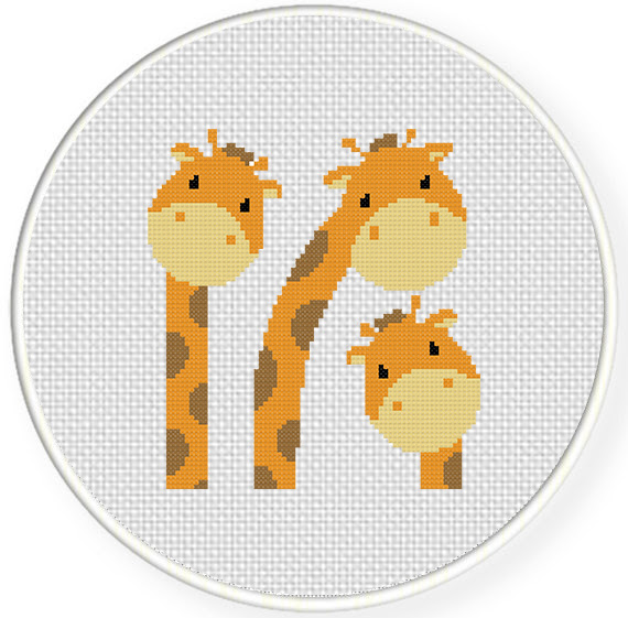 Giraffe Animal silhouette cross stitch Deer and Bird counted charts for beginners DIY gift Antelope Rhino easy small 5 patterns PDF