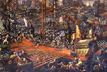 A detail from a painting of the battle of Lepanto