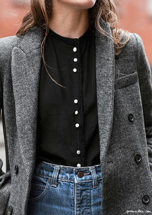 Le Fashion Blog Fall Style Grey Wool Coat Black Collarless Top With Buttons Denim Via Garance Dore