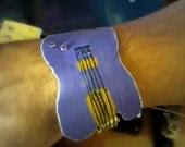 Rock Star Unisex Cuff Bracelet Recycled Vinyl Record Guitar Shaped