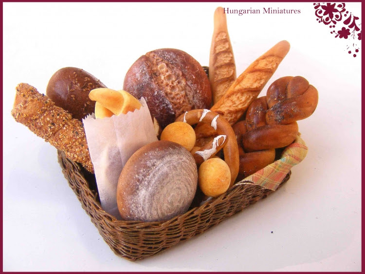 CDHM Artisan Erzsébet Bodzás of Hungarian Miniatures creating dollhouse miniature-foods-including breads, crazy cakes, prep tables in 1:12 scale