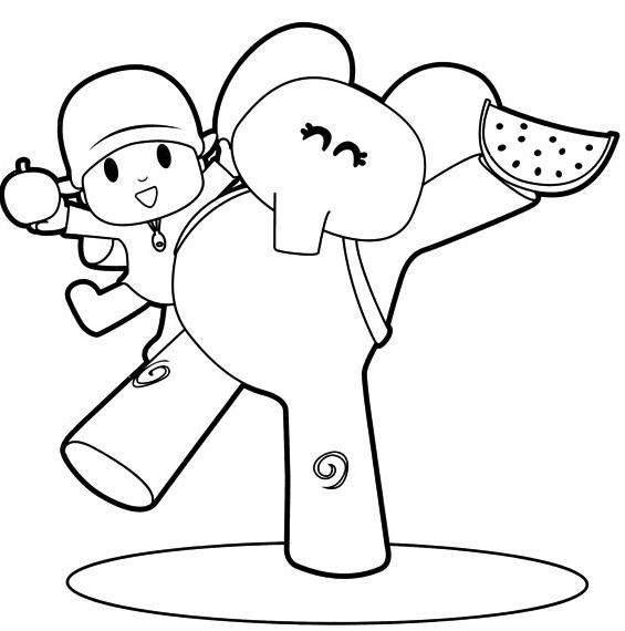 Dibujo De Pocoyó Y Elly Con Manzana Y Sandía Para Colorear
