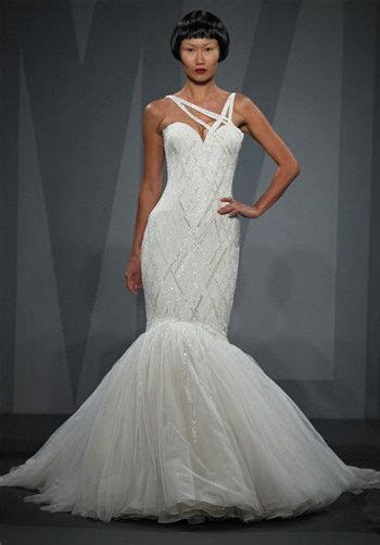One Shoulder beaded mermaid wedding gown with tulle skirt