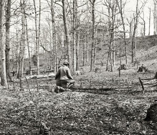 "Prince William County, Virginia. ""Along Bull Run near Sudley Church. March 1862."" Each of the dozen or so sticks lined up in front of the boys marks a grave."
