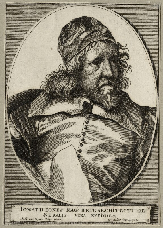 Inigo Jones, by Wenceslaus Hollar, after  Sir Anthony van Dyck, mid 17th century - NPG D28343 - © National Portrait Gallery, London