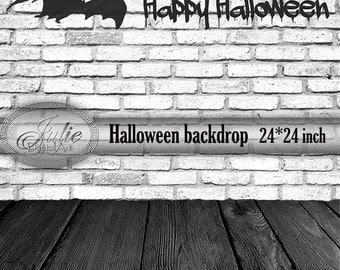 Black & White Halloween digital backdrop, bat on white ...