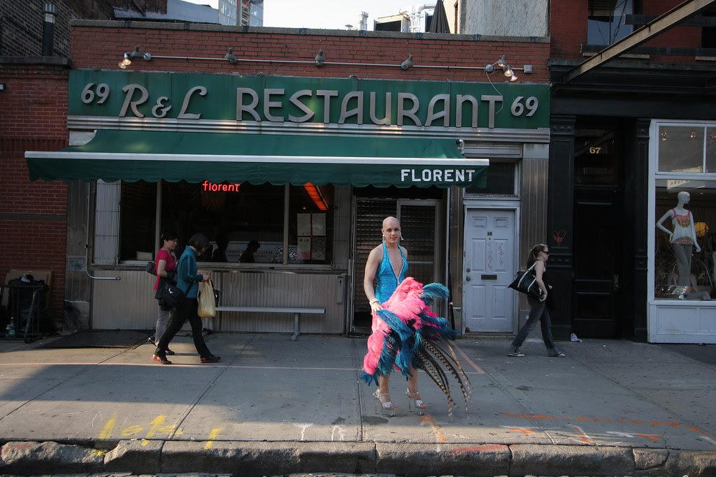 Sidewalk showgirl