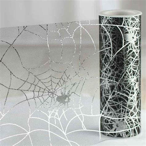 Black and Silver Metallic Halloween Spider Web Tulle