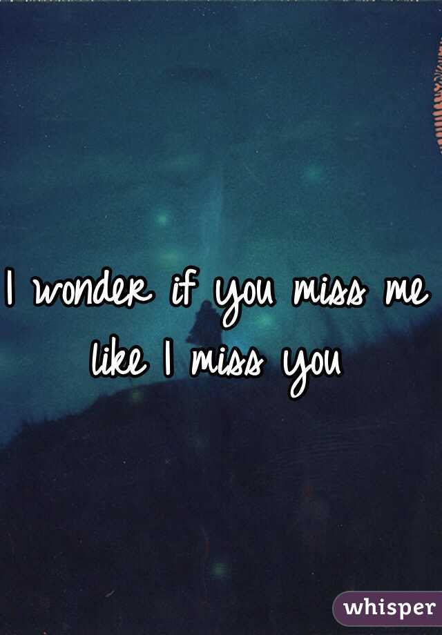 I Wonder If You Miss Me Like I Miss You