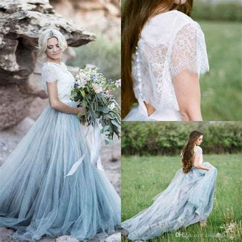 2017 Fairy Beach Boho Lace Wedding Dresses High Neck A
