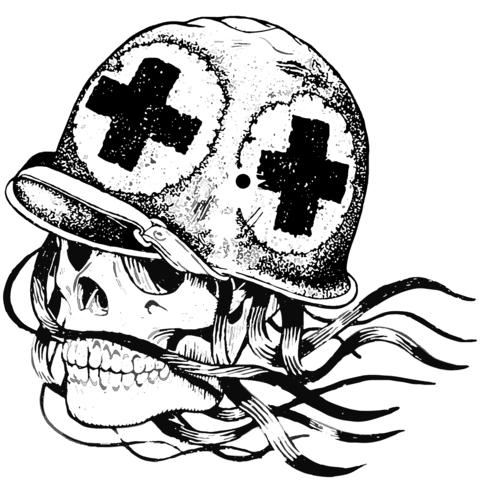 Dibujo De Cráneo En Casco Médico Militar Para Colorear Dibujos