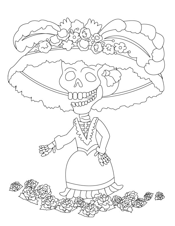 Flor De Muerto Para Colorear Pintar E Imprimir