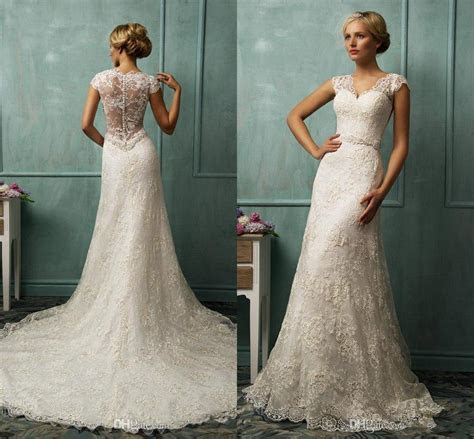 2016 New Sheath Lace Wedding Gowns V Neck Sheer Back With