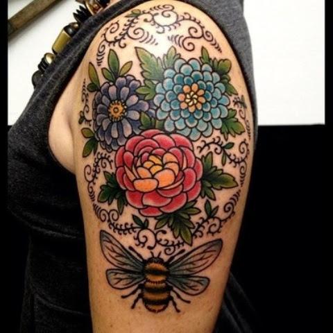 Virginia Elwood Tattoo Floral Upper Arm Sleeve Tattoomagz