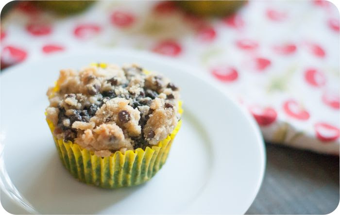chocolate banana muffins with cookie dough streusel topping!!!
