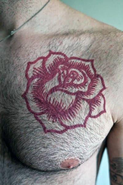 Tatuagem de rosa legal dos homens para peito