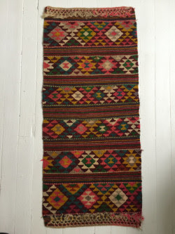 Bold Colorful Vintage Hand Woven Rug