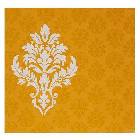 Designer Orange Golden Wedding Invitation In Multicolor