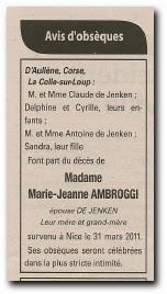 notice décès Marie Jeanne Ambroggi épouse De Jenken