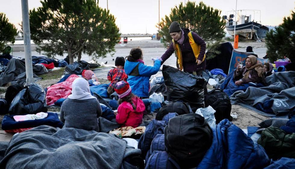 Refugiados en el campo de refugiados de la isla de Chios (Grecia).