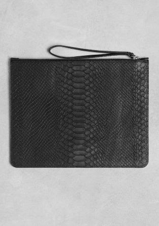 And Other Stories Snakeskin Embossed Leather Clutch