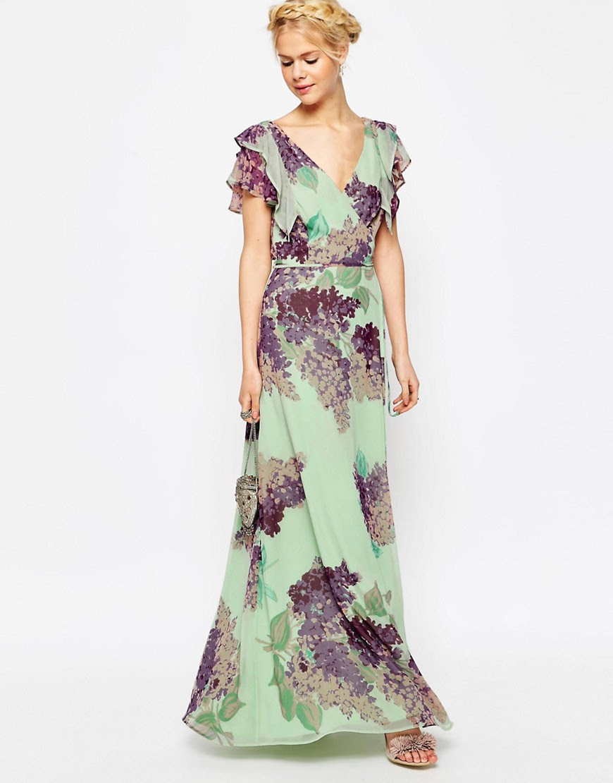 Image 1 of ASOS Frill Tea Maxi Dress in Floral Print